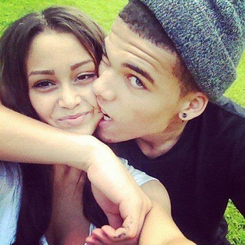 black couple playful biting