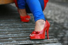 red heels concrete